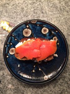 Smoked salmon , goat cheese, grain free bread! Great way to start your day!